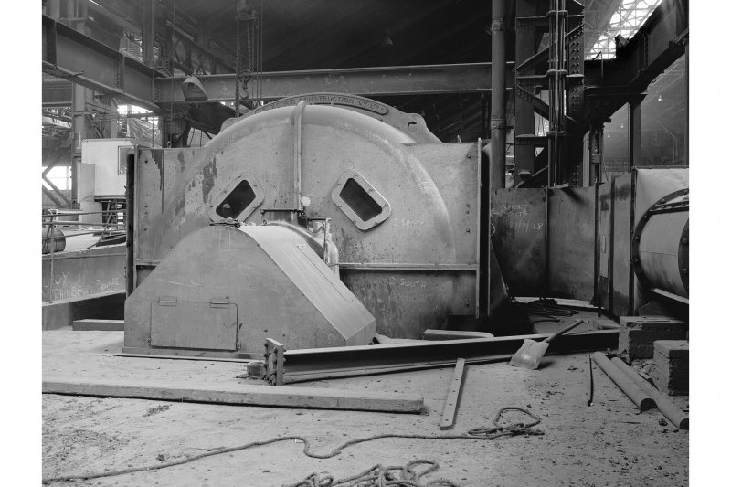 Hallside Steelworks, Interior View of cogging mill showing motor, Elecric Construction Company Limited, 'about 40 years old'
