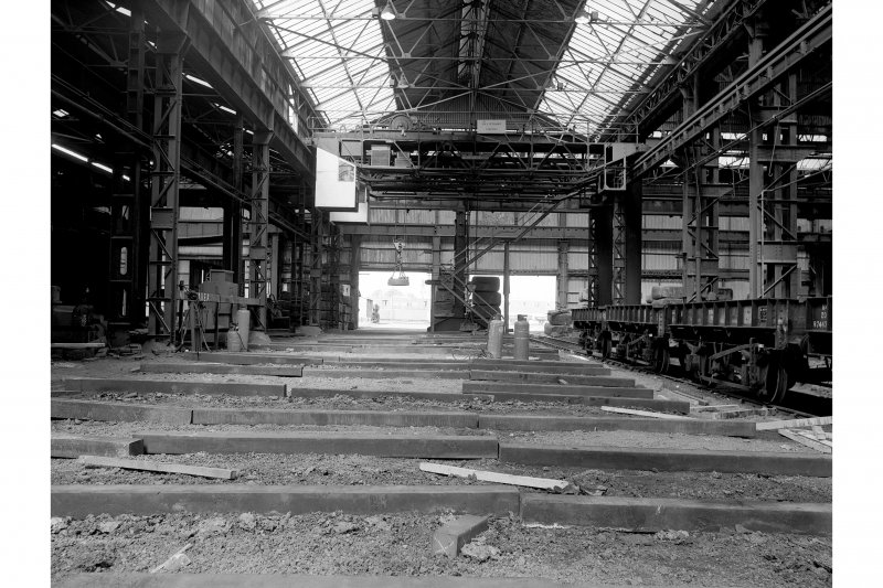 Hallside Steelworks, Interior View of foundry showing crane