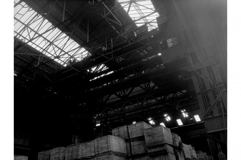 Hallside Steelworks, Interior View of foundry showing cranes