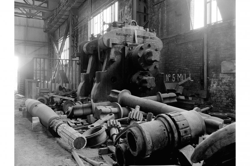 Hallside Steelworks, Interior View of 'Ash Store' showing mill drive for cogging mill, Davy Brothers, Sheffield, 1927
