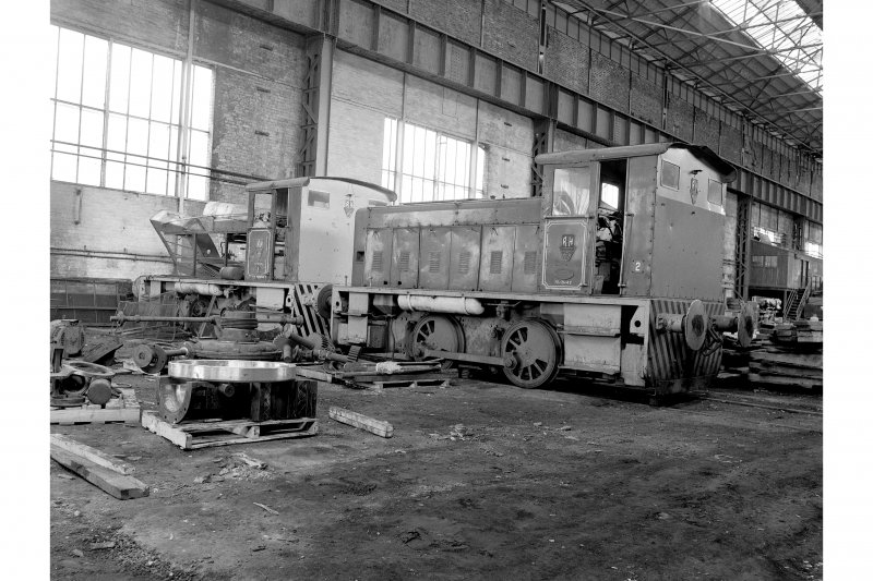Hallside Steelworks, Interior View of 'Ash Store' showing Ruston and Hornsby shunters numbers 1 and 2