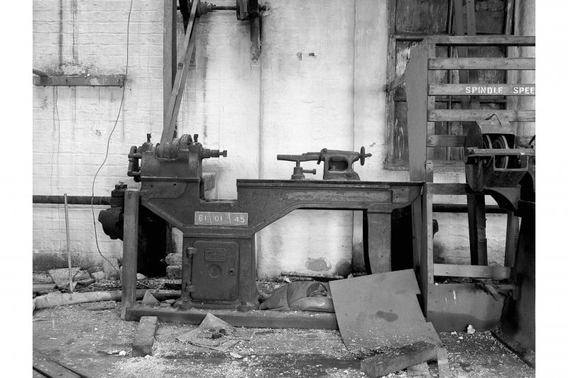 Hallside Steelworks, Interior View of old joiners' shop showing Loudon Brothers wood-turning lathe