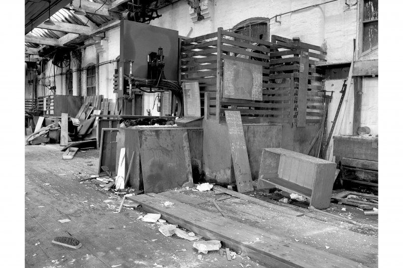 Hallside Steelworks, Interior View of old joiners' shop showing Oliver bandsaw, Grand Rapids