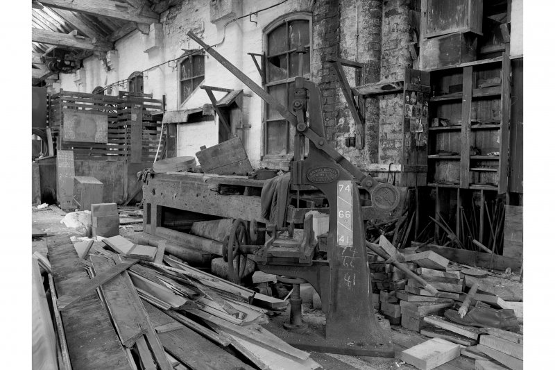 Hallside Steelworks, Interior View of old joiners' shop showing mortising machine, Mackay, Barley and Heys, Glasgow