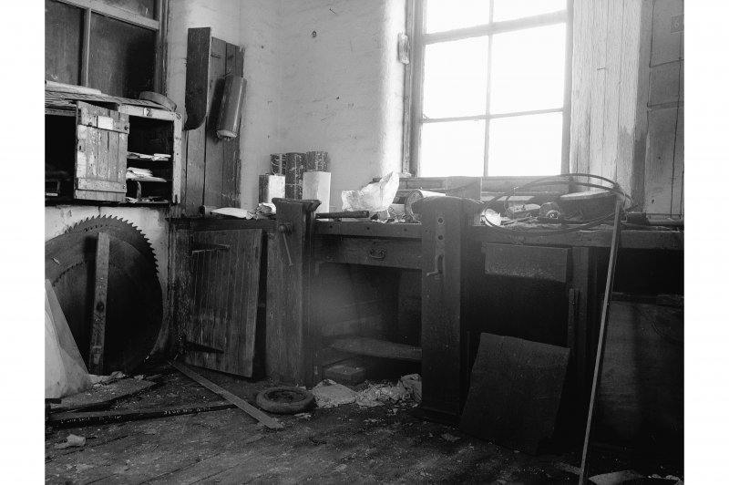 Hallside Steelworks, Interior View of old joiner's shop showing wooden leg vices