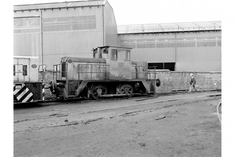 Glasgow, Clydebridge Steel Works View showing Barclay 040 DH 'on shed'