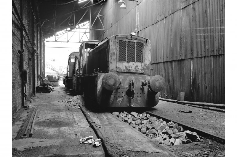 Glasgow, Clydebridge Steel Works, Interior View showing disused Ruston 165 DE number 4 and remains of two NBL shunters, one 27420 of 1954