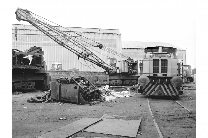 Glasgow, Clydebridge Steel Works View showing Coles rail-mounted crane at engine shed