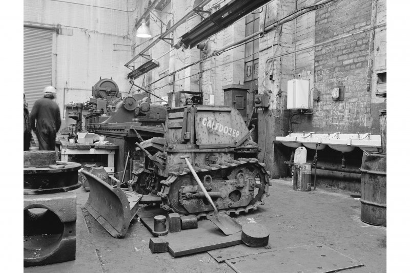 Glasgow, Clydebridge Steel Works, Interior View of engineering shop showing Aveling-Barford calf-dozer CD2132