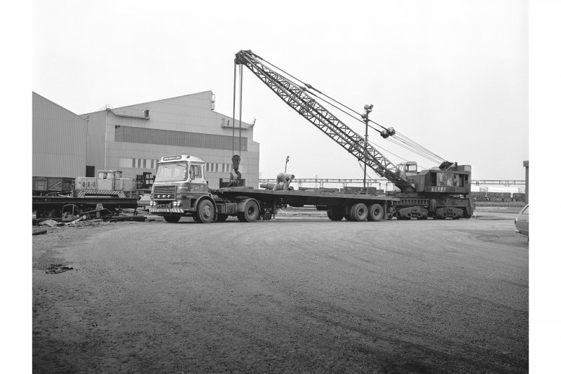 Glasgow, Clydebridge Steel Works View showing rail crane loading lorry