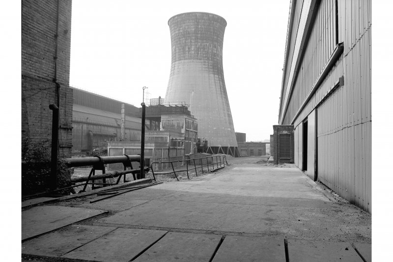 Glasgow, Clydebridge Steel Works View showing cooling tower