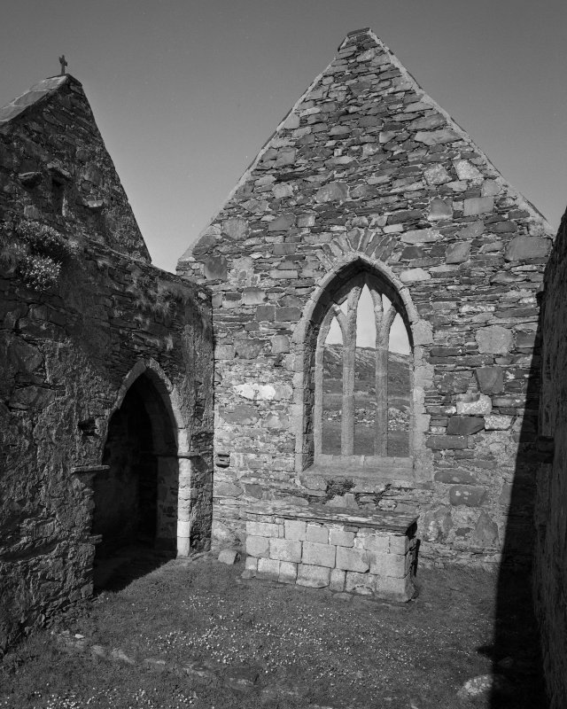 Oronsay Priory, interior. View of East end of interior of church.