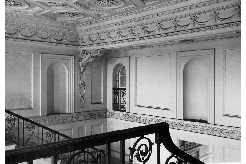 Duddingston House, interior View of upper floor of entrance hall