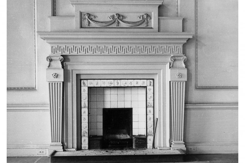Duddingston House, interior Detail of chimneypiece in entrance hall