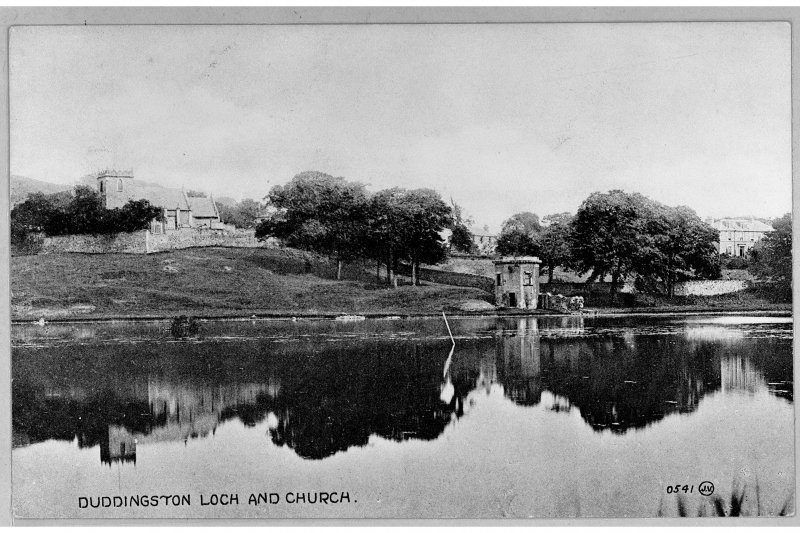 Duddingston, Edinburgh View over Loch towards Church showing Thomson's Tower.