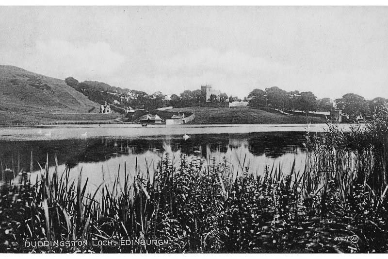 Duddingston Postcard view over Loch towards Church