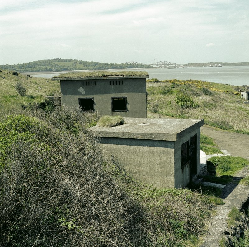 Scanned image view of gun battery engine house and magazine from the East.  Visible are ventilators and steel framed windows.