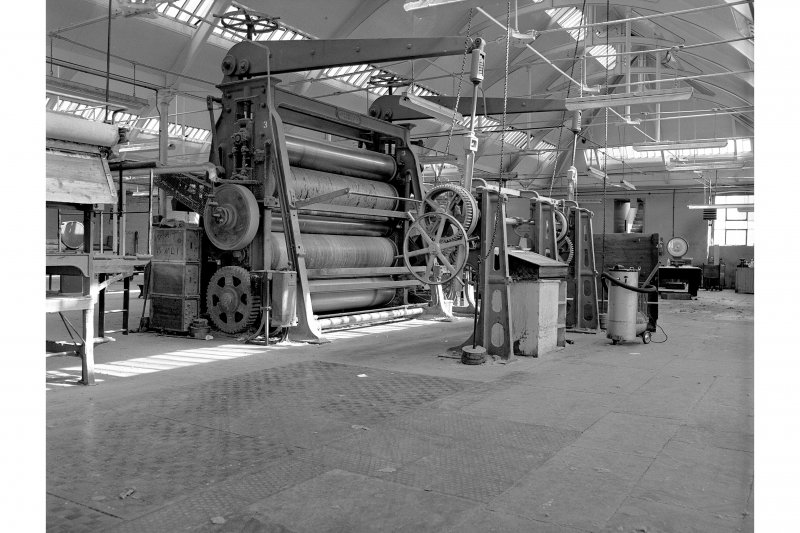 Dundee, Princes Street, Upper Dens Mills, Interior View showing large calender, Lee, Croll and Company, Dundee
