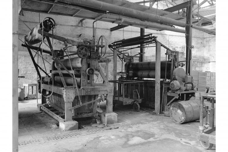 Dundee, Princes Street, Upper Dens Mills, Interior View of fulling house showing coating stands and proofing machine, J. H. Riley and Company, Bury