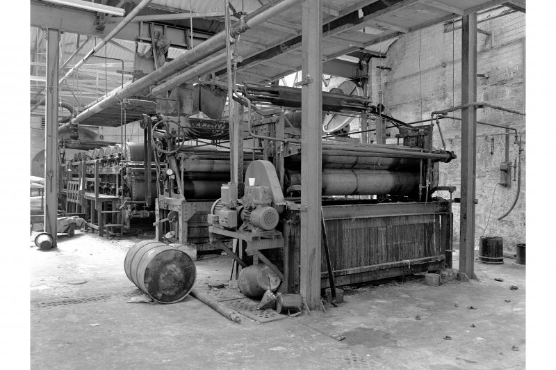 Dundee, Princes Street, Upper Dens Mills, Interior View of fulling house showing proofing machine, J. H. Riley and Company, Bury