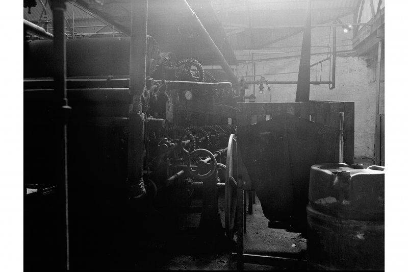 Dundee, Princes Street, Upper Dens Mills, Interior View of fulling house showing drive to drying rollers and proofing machine, J. H. Riley and Company, Bury