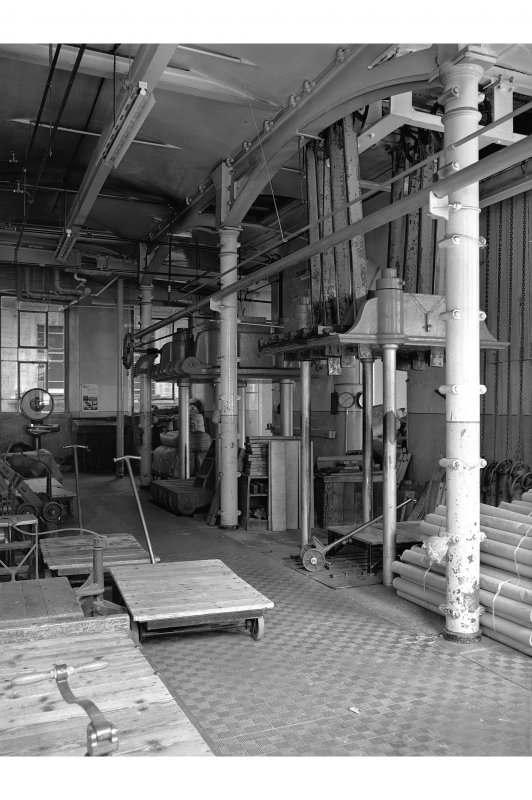 Dundee, Princes Street, Upper Dens Mills, Interior View of packing shop showing two of three presses
