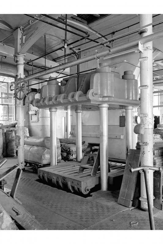 Dundee, Princes Street, Upper Dens Mills, Interior View of packing shop showing three ram press
