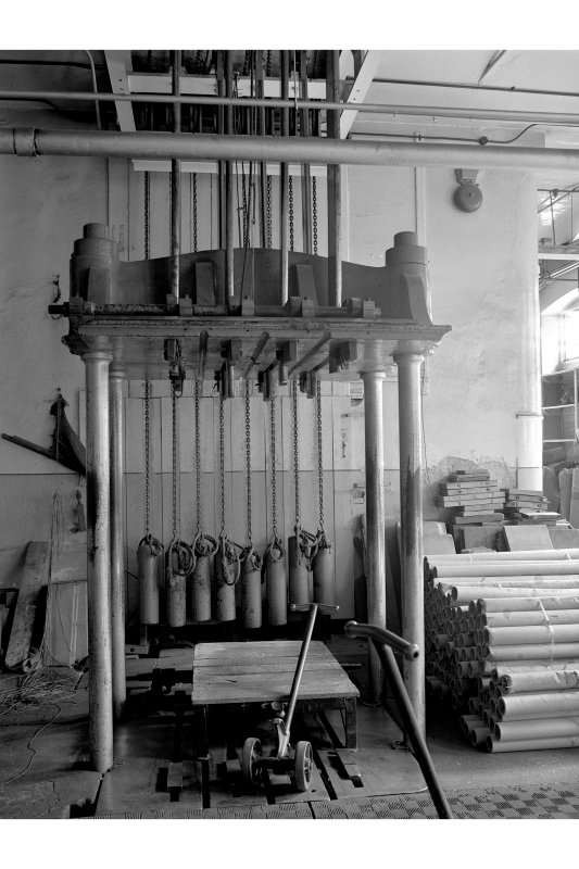 Dundee, Princes Street, Upper Dens Mills, Interior View of packing shop showing single-ram press