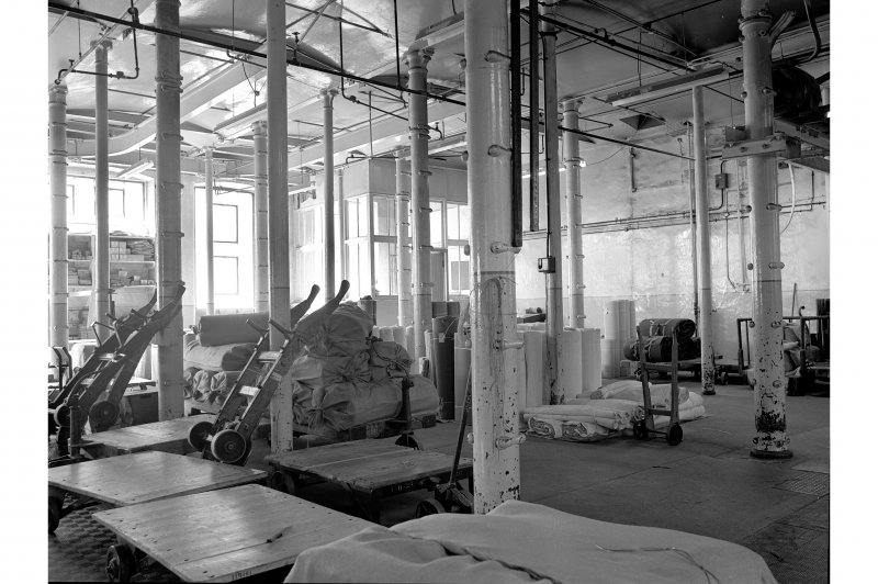 Dundee, Princes Street, Upper Dens Mills, Interior View of packing shop showing cased columns