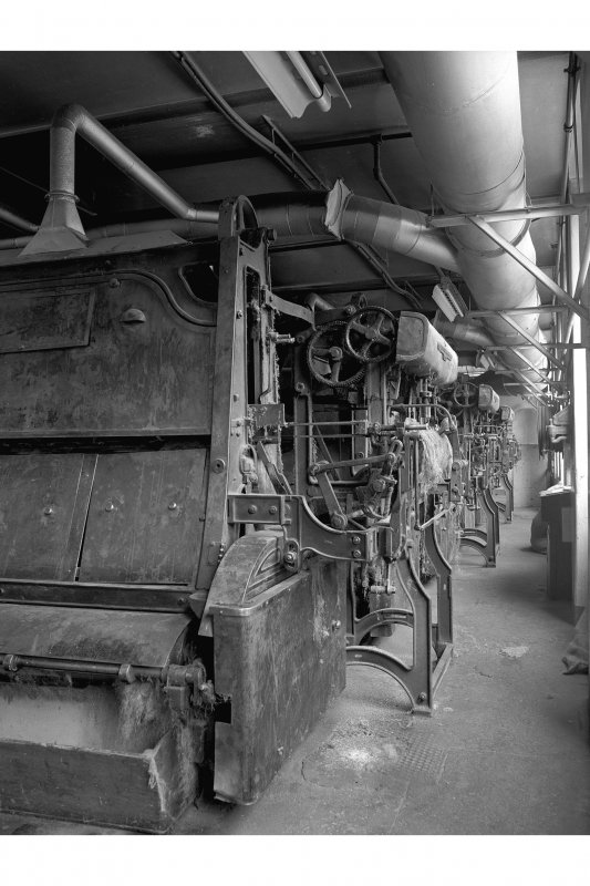 Dundee, Princes Street, Lower Dens Mills, Interior View showing back of Hickling machines, Longworth and Company Limited with pull-through mechanism