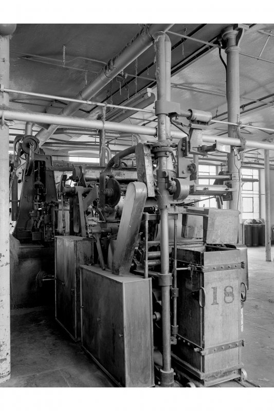 Dundee, Princes Street, Lower Dens Mills, Interior View showing drawing head of Hickling machines, Longworth and Company Limited