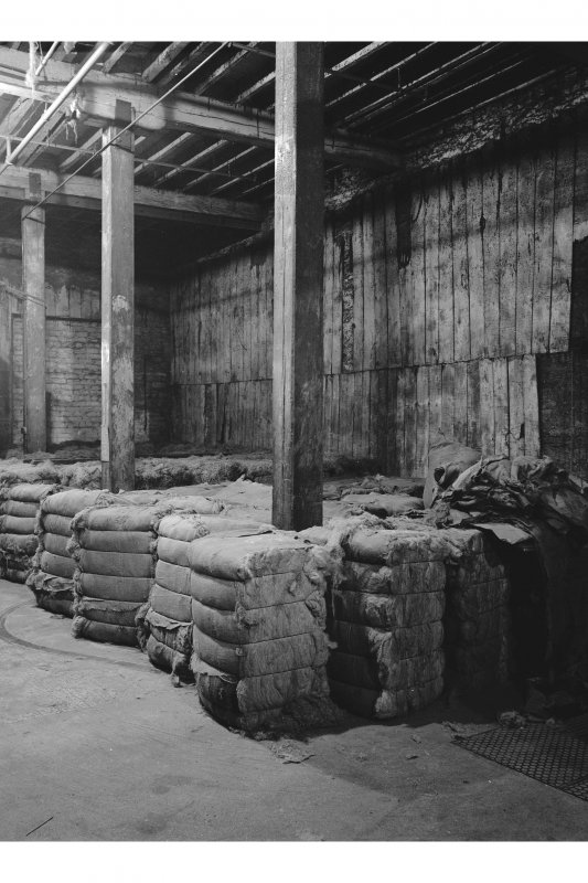 Dundee, Princes Street, Lower Dens Mills, Interior View of flax store showing detail of construction