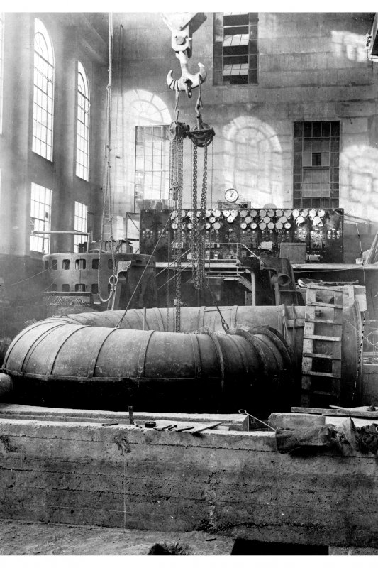 Interior. View of generator in Power Station building. Photographic copy of Plate 88, Volume 195, PA 123.