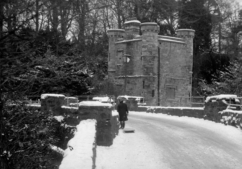 Edinburgh, Dreghorn Castle, interior. View of lodge in snow.