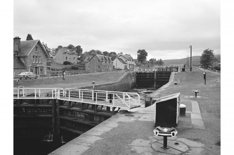 Fort Augustus Locks, Caledonian Canal View from NE showing part of ENE front of first lock gate from E with second lock gate from E in background