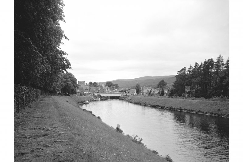 Fort Augustus, Swing Bridge Distant view from ENE showing swing bridge with locks in background
