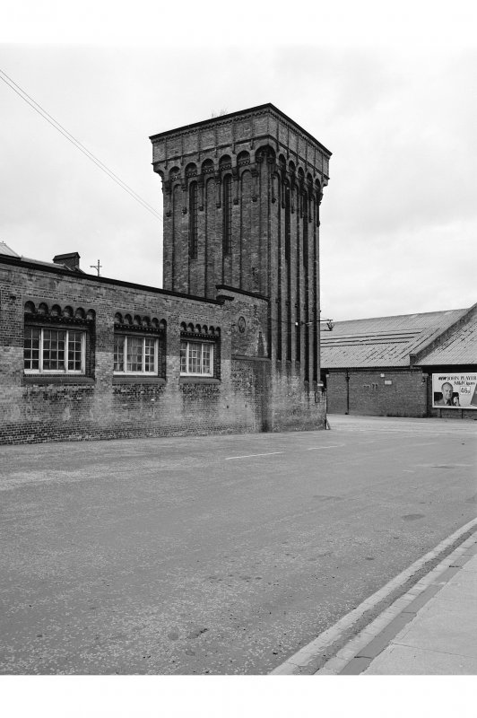 Glasgow, Mavisbank Road, Prince's Dock Hydraulic Power Station View from SSE showing accumulator tower and part of ESE front