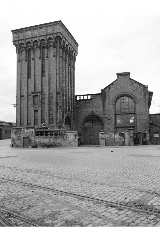 Glasgow, Mavisbank Road, Prince's Dock Hydraulic Power Station View from N showing accumulator tower and NNE front