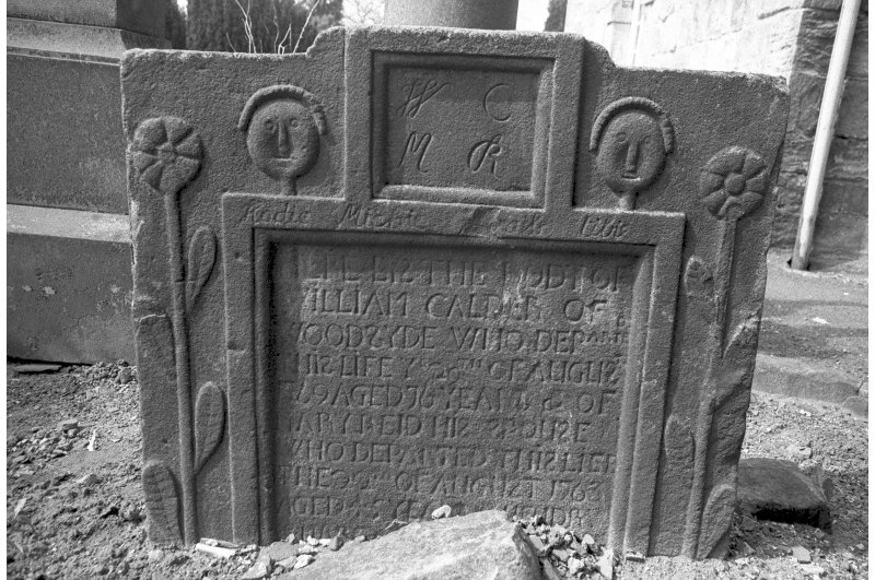 Detail of gravestone of William Calder, d.1769.