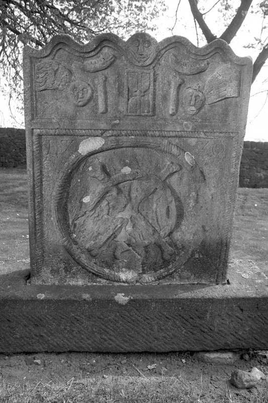 Detail of gravestone of Henry Brock, d.1770.