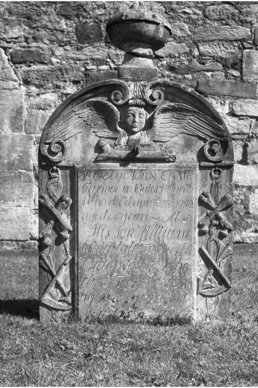 Temple churchyard. View of gravestone of John Craig, d. 1742.