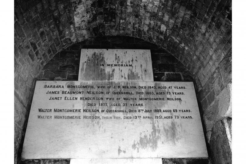 Tongland Abbey, Neilson Mausoleum; Interior View of commemorative stone inside mausoleum