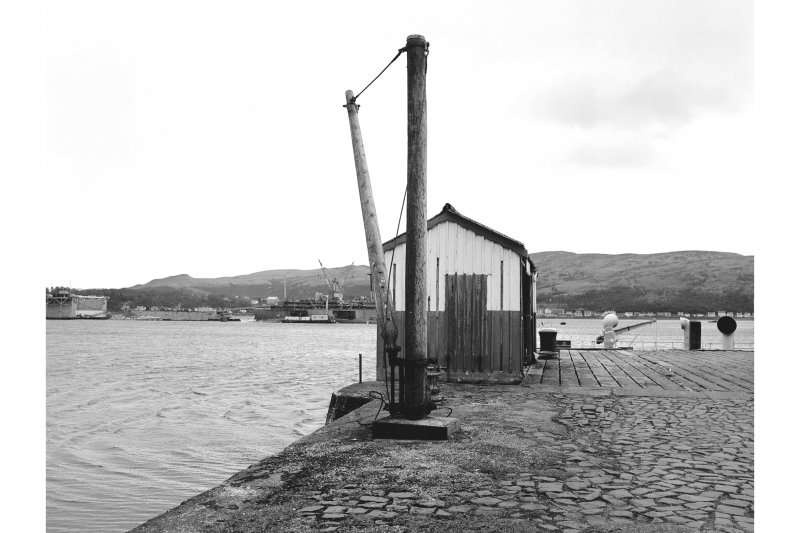 Kilmun, Pier View from NE showing crane