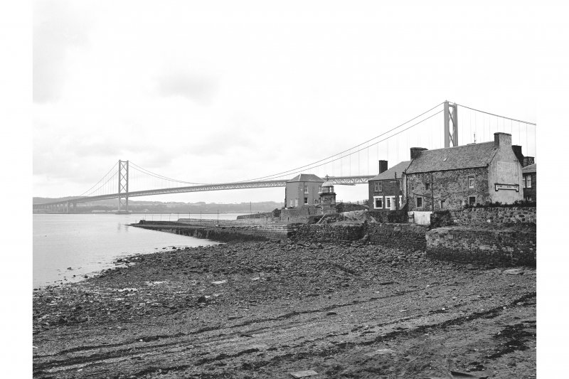 North Queensferry, Town Pier View from NE showing ESE front of pier with Albert Hotel in foreground and Signal House and Forth Road Bridge in background