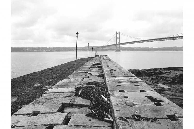 North Queensferry, Town Pier View looking SSW along pier with part of Forth Road Bridge in background