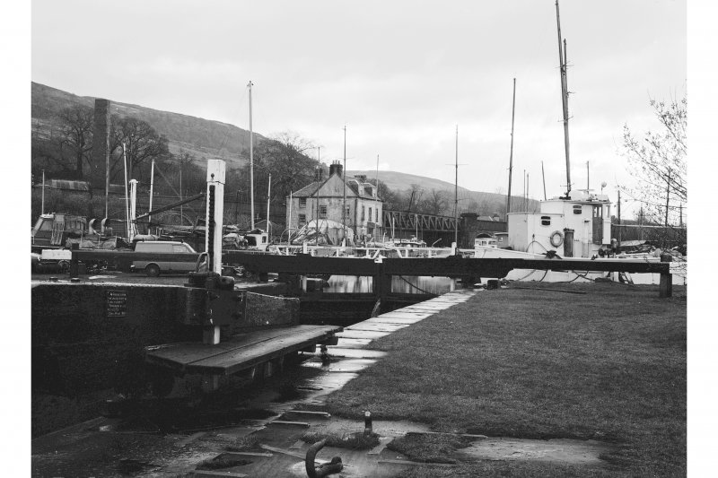 Forth and Clyde Canal, Bowling Basin, Canal House Basin View from WSW showing W front of lockgate with Custom House and part of swing bridge in background