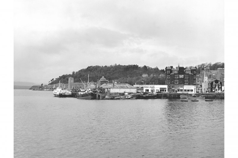 Oban, North Pier View from S showing SSE front of North Pier, SW corner of waiting room and SSE front of Columbia Hotel