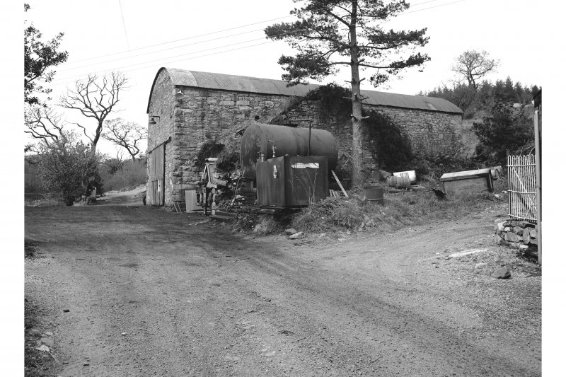 Furnace, Craleckan Ironworks, Charcoal Shed View from S showing WSW front and part of SSE front of charcoal shed with wall in foreground