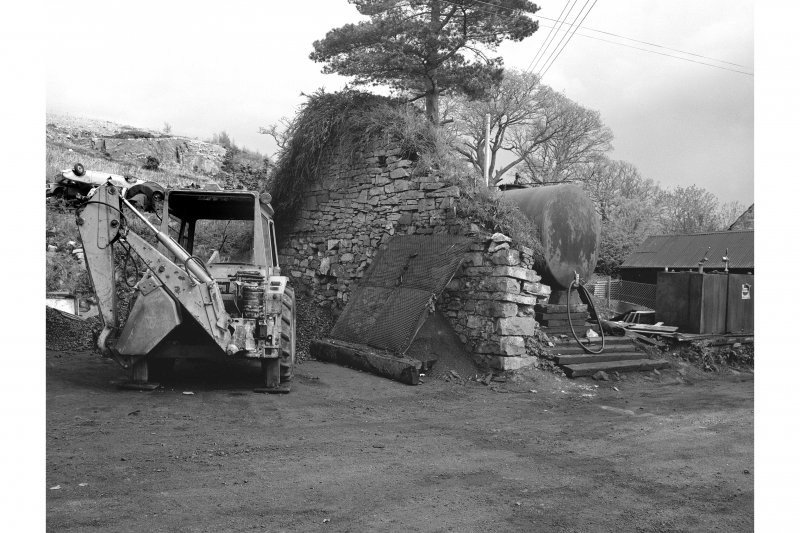 Furnace, Craleckan Ironworks, Charcoal Shed View from W showing wall by charocoal shed