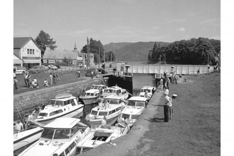 Fort Augustus Locks, Caledonian Canal View from WSW showing boats in E lock with swing bridge in background